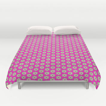 Hot Pink Plaid Mint Green Flower Duvet Cover by Apgme