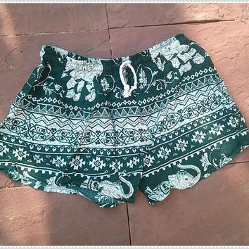 ON SALE Green Shorts Elephant Printed Rayon Boho Hobo Beach Hippie Hipster Clothing Aztec Ethnic Bohemian Ikat Tank Handmade Colorful Unique