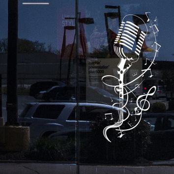 Window Sign and Vinyl Wall Decal Microphone Patterns Singing Karaoke Stickers Unique Gift (ig4022w)