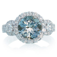 18 Karat Three Stone Diamond Halo Aquamarine or Morganite Engagement Wedding Anniversary Ring