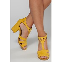 Calling For You Faux Suede Heel (Yellow)