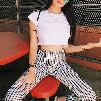 High Waisted Black And White Plaid Trousers