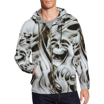 No Evil Skulls Men's All Over Print Full Zip Hoodie