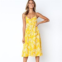Summer Women Dress 2019 New Sexy V Neck Backless Beach Dress Floral Print Button Casual Ladies Dresses Sundress Vestidos Mujer