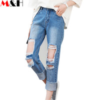 2016 High Waist Ripped Jeans Strappati Donna Baggy Boyfriend Jeans for Women Pantalones Rotos Mujer Jean Trou Genou Hot Fashion