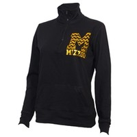 The Mizzou Store - Mizzou Juniors' Gold Foil Block M Black Long Sleeve 1/4 Zip Sweatshirt