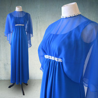 1960s Royal Blue Emma Domb Evening Gown Greek Goddess Bohemian
