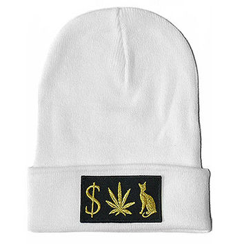 MONEY WEED PUSSY CAT WHITE BEANIE