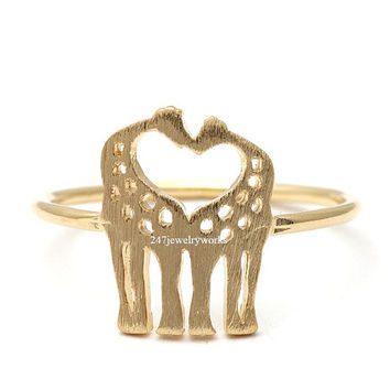 giraffe ring,couple giraffe ring,heart ring, ring,animal ring,couple ring,cute ring,unique ring,mens rings,women ring,gold giraffe ring