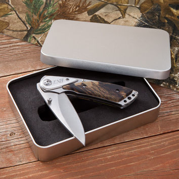 Camo Deluxe Personalized Lock Back Knife