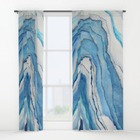 AGATE Inspired Watercolor Abstract 02 Window Curtains by vivigonzalezart