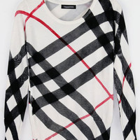 Plaid knitted Pullover Sweaters