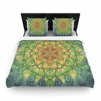 "Art Love Passion "" Celtic Golden Flower"" Green Yellow Geometric Woven Duvet Cover"