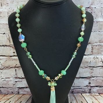 Leather Tassel Necklace: Mint