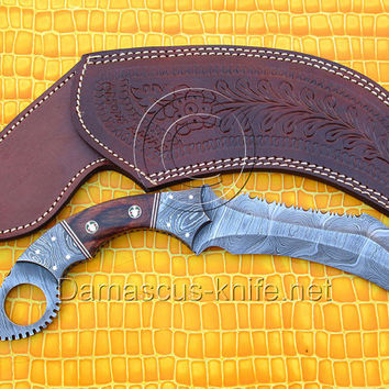 Full Tang Handmade Big Damascus Karambit Knife - Engraved Sheath (ARS-719)