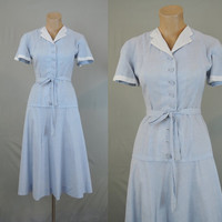 1940s Pale Blue Chambray Nelly Don Dress with White Pique Trim - fits 36 bust