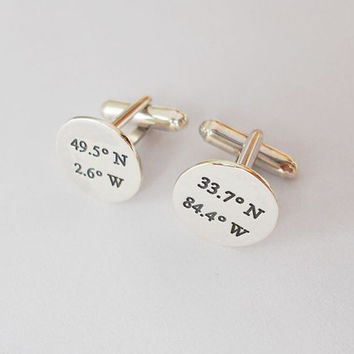 Personalized Latitude Longitude Cufflinks,Engraved Coordinates Cufflinks for Groom,Custom Wedding Cuff links,Gift from Bride
