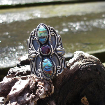 Garnet ring,red ring, multi colored ring, turquoise, blue, large, oxidized silver ring, size 8 1/2, gemstone ring, birthstone ring, boho