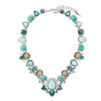 Peacock Plumes Statement Collar Necklace