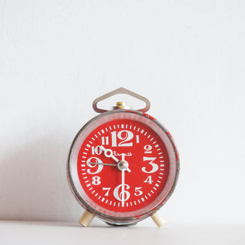 Red Alarm Clock, Office Desk Clock, Soviet Vintage, Modern Summer Home Decor, White Geometric