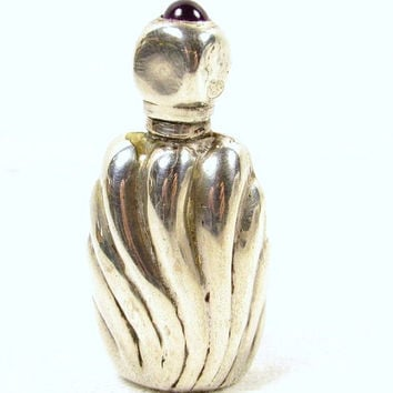 Sterling Silver Mexico Miniature Ribbed Purple Lucite Perfume Bottle