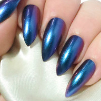 Colour Change Nails - Press On Nails - Stiletto Nails - False Nails - Pointy Fake Nails - Acrylic Nails - Glue On Nails - Multichrome Nails