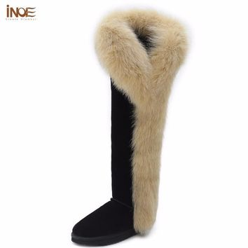 INOE fashion fox fur botas cow split leather over the knee long winter snow boots for
