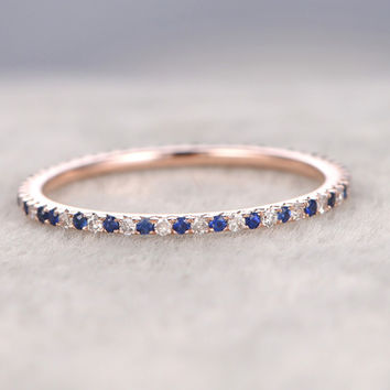 Sapphire and Diamond Wedding Rings 14k Rose Gold Thin Pave Half Eternity Band Annivery