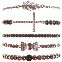 Cross & Bow Bracelet Set | Wet Seal
