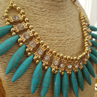 Vintage necklace Bohemian rhinestones choker turquoise Gold plated necklace statement necklace