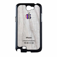 Apple Logo On White Wood Colorful Samsung Galaxy Note 2 Case