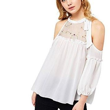 DIDK Womens Embroidered Mesh Neck Open Shoulder Top