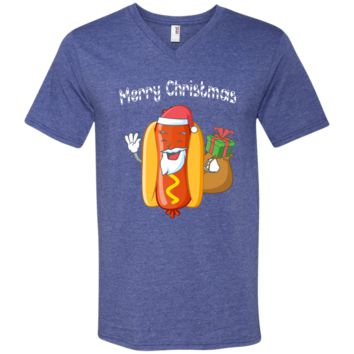Merry Christmas Hot Dog Santa Ugly Sweater Funny Xmas Gift 982 Anvil Men's Printed V-Neck T-Shirt