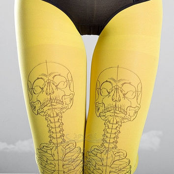 22% off sale /ends nov30/ Skeleton tattoo tights, medical anatomy illustration black and yellow full length printed tights, pantyhose, nylon