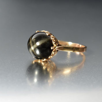 Vintage 14K Rose Gold Black Star Sapphire Ring