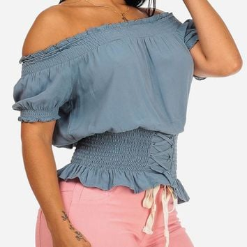Strapless Off Teal Stretchy Top