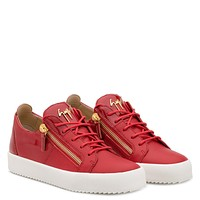 Giuseppe Zanotti Gz Double Red Calfskin Leather Low-top Sneaker