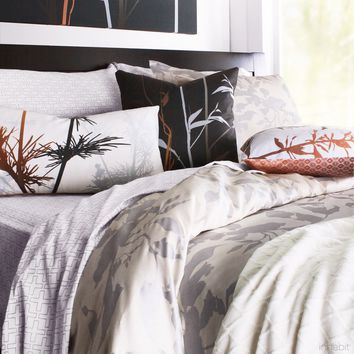 Morning Glory in Silver Duvet Cover + Sham Set