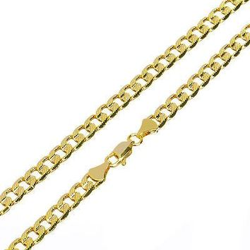 """Jewelry Kay style Solid Men's 14K Gold Plated 5mm / 24"""" Cut Concave Cuban Link Chain Necklace"""