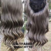 """HOT 3/4 Half Long Curly Wavy Wig Heat Resistant Synthetic Wig Hair 200g 24"""" Highlighted Curly Wig Hairpieces with Comb Wig Hair GS-TFA888 4T10"""