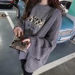 Letter Print Long Sleeve Thick Knit Cardigan Sweater