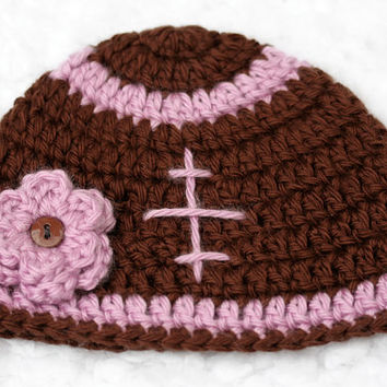 Daddy's Girl Crochet Football Hat // Pink with Flower // Newborn