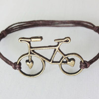 Bicycle Bracelet or Anklet in Antique Brass