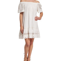 Off-the-Shoulder Cotton Lace-Trim Shift Dress, Snow