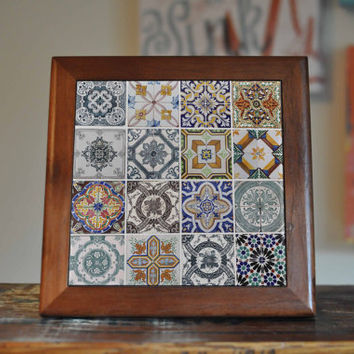 Portugal Azulejos Ceramic Tile Coaster Set Artwork Trivet Hot Plate Pot Stand Plant Tile Coasters Splashback Kitchen Decor Tile Interior