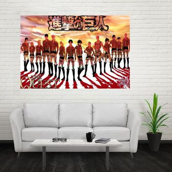 Cool Attack on Titan Nice New  Poster Custom Canvas Poster Art Home Decoration Cloth Fabric Wall Poster Print Silk Fabric Print AT_90_11