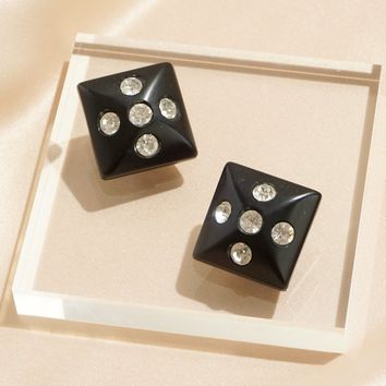 Rhinestone Studded Wood Square Clip Earrings