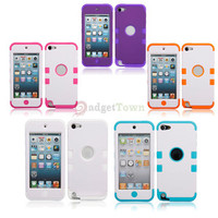 5 Color Silicone Plastic Three-in-one Case for Apple iPod Touch 5 5th Gen