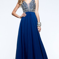 Full Length V-Neck Formal Gown by Faviana