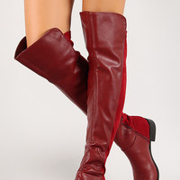 Mixed Media Round Toe Knee High Boot